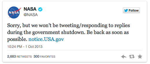 NASA tweets communications shutdown
