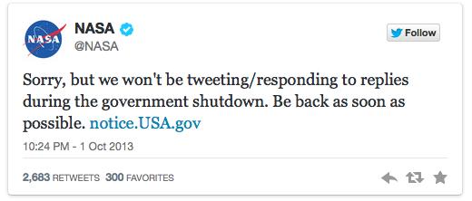 NASA tweets communications shutdown